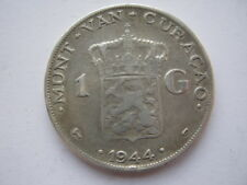 Netherlands Curacao silver 1 Gulden 1944 F cleaned