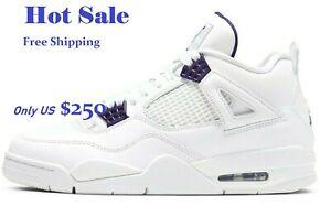 Air Jordan 4 Metallic Purple Retro White Court Purple shoes men's sport Sneakers