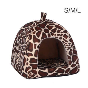 Leopard Warm Soft Pet Dog Cat Cave House Sleep Bed Washable Pad Nest Mat Tent