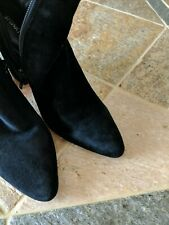 STUART WEITZMAN GRANDIOSE BLACK SUEDE POINTY ANKLE BOOTS SIZE 8 MADE IN SPAIN