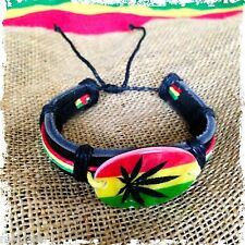 Rasta Fashion Bracelet Leather Wrist Cuff Canna Weed Leaf Emblem Bob Reggae IRIE