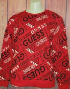 MENS GUESS ICONIC LOGO RED CREW SWEATSHIRT SIZE M