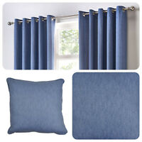 Fusion SORBONNE - Denim Blue 100% Cotton Eyelet Curtain / Cushions
