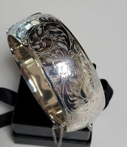 Vintage 1940's Birks Burkhardt Canada Sterling Silver Engraved Cuff bangle 43Grm