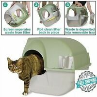Omega Paw Self Cleaning Cat Litter Box Roll Kitty Pewter Scoop Automatic NEW