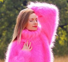 Neon pink hand knitted mohair sweater fuzzy thick warm fluffy jumper SuperTanya