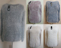 NEW LADIES SOFT FLUFFY STRETCHY PEARL BEAD MARL JUMPER ONE SIZE 12-18 FREE P&P
