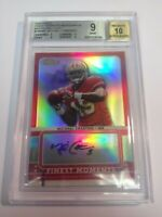 Michael Crabtree 2009 Topps Finest Moments Red Refractor BGS 9 Auto 10 3/5