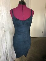 Womens Dark Blue Spaghetti Strap Cocktail Dress Size M faux suede