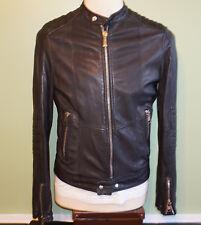 Just Cavalli Mens Black Slim Fit Leather Motorcycle Jacket S-M (48)