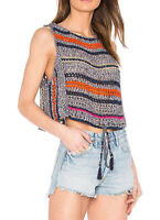 Free People Womens Step Outside OB577509 Top Knit Relaxed Blue Size XS