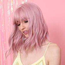Pink Short Bob Curly Wig Women Cosplay Party Wig with Bangs Synthetic Full Wig