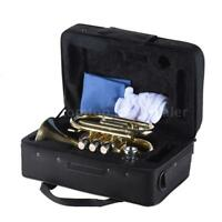 ammoon Pocket Trumpet Bb Flat Brass with Mouthpiece Gloves Carrying Case Durable