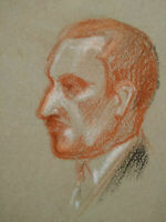 Beau portrait homme période Art Déco sanguine & craie 1920 - 1930 étude visage