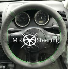 FOR VAUXHALL SIGNUM 03+ GREY TWO TONE LEATHER STEERING WHEEL COVER GREEN STITCH