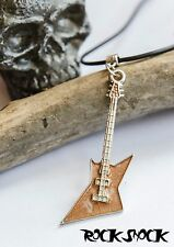 Heavy Metal Brown Electric Guitar Necklace Pendant Rock Men's Jewellery Gift