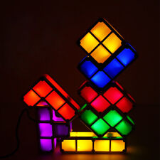 7PCS DIY Tetris Puzzle Lights Stackable LED Lamp Constructible Block Night Light