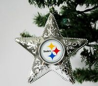 """Pittsburgh Steelers 4 3/8"""" Silver Star Christmas Tree Ornament"""