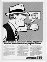 1984 Dick Tracy 2-way wrist radio ITT Corporation retro art print ad S21