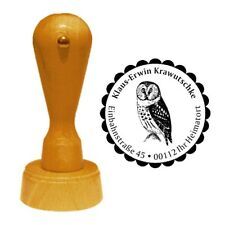 Stempel « SCHLEIEREULE » Adressenstempel Motiv Vogel Nacht Eule