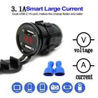 Presa USB Per Auto da 12V/24V, Caricabatteria 5V 4.2A Doppio USB Impermeabile