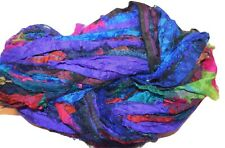 100g Sari Silk Ribbon craft ribbon yarn, jewelry making Blue Purple