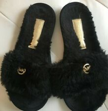NWT Michael Michael Kors Fur Jet Set MK Slide Women Black Slipper Slide $75 sz7
