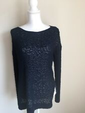 BCBG Womens Size XS/S Blue Pullover Sweater Long Sleeve Scoop Neckline Mesh Back