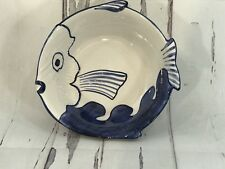 ZANOLLI  ITALY FISH BOWL  HAND-PAINTED BLUE AND WHITE