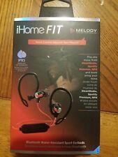 iHome FIT, Bluetooth, Water-Resistant Wireless Sport Earbuds, Red/Black, iB71BRC