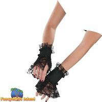 Adults Ladies Lace Up Gloves Glovelettes Gothic Vampire Fancy Dress Accessory