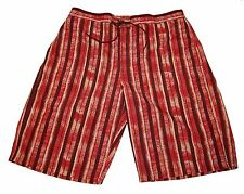 Hugo Boss Brown Striped Mens Sweat Shorts Beach Athletic Size XL NEW
