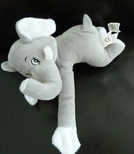 Y5- DOUDOU PELUCHE CENTRAL'VET  ELEPHANT GRIS BLANC VELCRO AUX PATTES 21cms TTBE