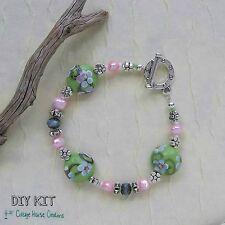 Sakura ~ Lampworked Beaded Bracelet Jewelry Making Kit Fresh Water Pearls