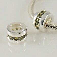 Cubic Zirconia Stone Spacer Charm Bead 925 Sterling Silver