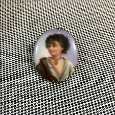 Victorian Vintage Porcelain Boy Painting Portrait Pin Great Hallmarks
