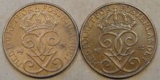 Sweden Five Ore 1939 Unc + 1942 XF+ as Pictured