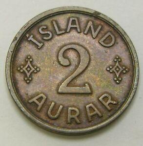 ICELAND 2 Aurar 1940 - Bronze - Christian X - VF - 1688