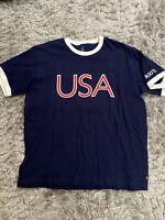 2004 Athens Olympics USA Mens Medium T Shirt Navy Blue Contrasting Trim Roots