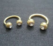 Hufeisen Piercing Ring GOLD TITAN Kristall weiß in 1,2mm oder 1,6mm Intim Lippe