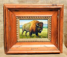 Original Hand Painted oil painting portrait of buffalo / bison, 5