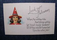 Look Out Witches Ride for Human Bait HALLOWEEN Postcard