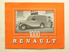 Prospectus Camion RENAULT  1000 KGS   Non daté  catalogue brochure camionnette