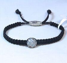 David Yurman Men's Meteorite Woven Tile Bracelet Black Nylon Silver $495 NWT