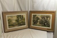 Pair of Original Landscape Watercolors Signed by NY Listed Artist John E Detore
