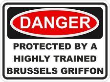 Raza De Perro Grifón de Bruselas peligro PEGATINA DE MASCOTAS PARA PARACHOQUES Locker Puerta De Automóvil