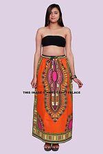 African Dashiki Printed Skirt Elastic Waist Orange Skirt One Size Indian Lehanga