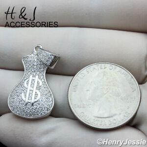 MEN WOMEN 925 STERLING SILVER ICY DIAMOND MONEY BAG CHARM PENDANT*AS250