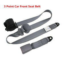 Universal Gray 3 Point Retractable Safety Straps Car Auto Seat Belt Buckle Kit