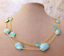 24K Gold Ovrl Blue Amazonite Aqua Chalcedony Bezel Faceted Gem Jewelry Necklace